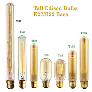 Tall Edison Style 60W E27/B22 Vintage incandescent Lamp Long Tuber Light Bulb UK