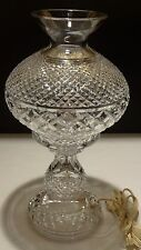 "VINTAGE WATERFORD CRYSTAL ALANA 14"" INISHMAAN 2 PIECE ELECTRIC HURRICANE LAMP"