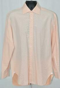 Xlent $425 Luigi Borrelli Pastel Tangerine Twill Slim Fit SHIRT EU41 16 x 35