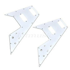 2 Pcs Electric Guitar HH Pickguard White 3 Ply Scratch Plate Flying V