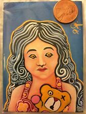 ACEO art painting oil girl bear animal expressionism horror creepy paranormal