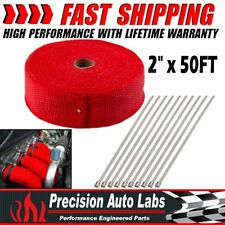 "2"" x 50FT Manifold Exhaust Header Fiberglass Heat Wrap Tape w/ 10 Steel Ties Kit"