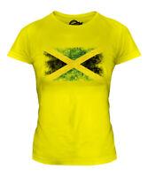 JAMAICA DISTRESSED FLAG LADIES T-SHIRT TOP JAMAICAN SHIRT FOOTBALL JERSEY GIFT