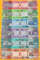 Gambia Full Set 5, 10, 20, 50, 100, 200 Dalasis p-new 2019 UNC Banknotes