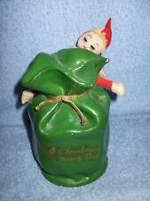 Vintage 1960's Christmas elf pixie Bank on A Money Bag