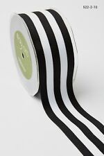 MAY ARTS RIBBONS~GROSGRAIN STRIPE~CHIC BLACK & WHITE~2 INCHES WIDE~SOLD BTY!