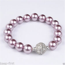 New Handmade 10mm Genuine Purple South Sea Shell Pearl Magnet Clasp Bracelet