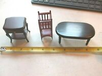 Wooden Dollhouse Coffee Table, Magazine Rack & Night Stand