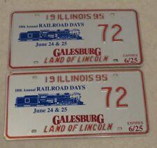 1995 GALESBURG ILLINOIS 18 ANNUAL RAILROAD DAYS LICENSE PLATE Pair