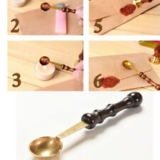 Wood Handle  Copper high temperature resistance Stamp Seal Sealing Wax Spoon