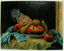 More details for oil painting, still life :- pineapple / apples / pear by monica j.suckling