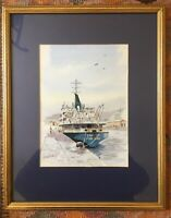 Vintage Watercolour Ship At Port Signed Horace Wilkins Mounted Framed Nautical