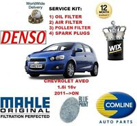 FOR CHEVROLET AVEO 1.6 2011-->ON OIL AIR POLLEN FILTER + SPARK PLUGS SERVICE KIT