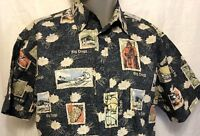 Big Dogs Surfing Hibiscus Reverse Print Hawaiian Shirt Sz S/M Aloha Hibiscus