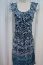 Studio M Dress Sz XS Indigo Blue Multi Color Ruffled Sleeveless Casual Dress