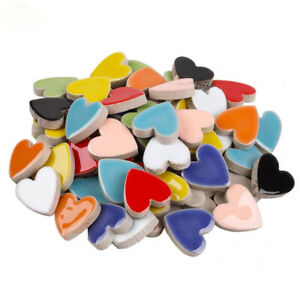 Colorful Heart Shaped Ceramic Mosaic Tiles For Crafts Pieces Art DIY Hand 20pcs
