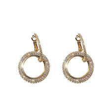 Fashion Luxury Round Earrings Women Crystal Geometric Hoop Earrings Jewelry Gift