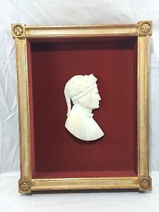 (4) orig. c1880's Grand Tour Alabaster Profile Relief Busts Authors & Composers