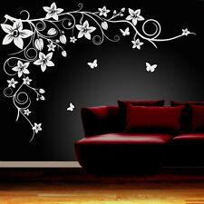 Butterfly Vine Flower Wall Art Stickers, Vinyl Decals - Best Quality  0001