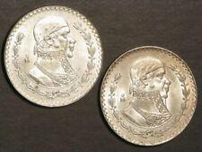 MEXICO 1964 & 1965 1 Peso Morelos Silver UNC - 2 Coins