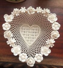 BELLEEK parian china heart  basket 4 strand All ivory color   No box AS IS