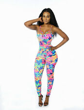 New Ladies Multi Floral Printed Jumpsuit Catsuit Club Wear Size UK 10