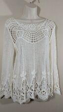 Woman's Small CROCHET Lace Blouse Peasant Boho Top Cream White Cotton