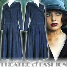 Laura Ashley Vintage Vestido 12 10 8 20s 30s 40s Victoriano Flapper Boda marino