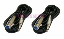 """2 PACK x 10Ft XLR 3Pin Female to 1/4"""" Mono Plug Mic Microphone Audio Cable 10 Ft"""