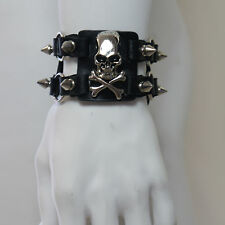 QUEEN OF DARKNESS Sectioned Spiked Bracelet With Metal Skull And Crossbones NEW