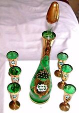 MURANO EMERALD GREEN  & GOLD DECANTER  & 6 GLASSES W/ RAISED ENAMEL AND FLOWERS