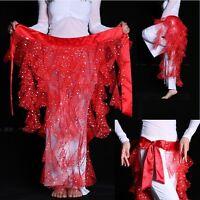 New Belly Dance Sparkle Fringe Hip Scarf Wrap Belt Fishnet Dancing Costume AB12