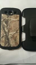 S 3  hard plastic phone  case camo w Black color with holder & belt clip