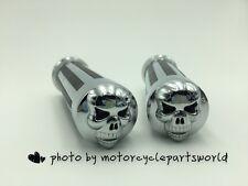 1''Chrome Skull Hand Grips Harley Davidson Sportster Dyna Glide Softail RoadKing