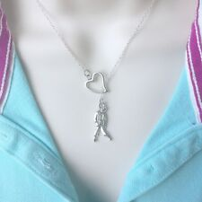 I Love Violin Handcrafted Silver Lariat Style Y Necklace.