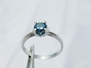 0.71Ct Genuine Natural Blue Diamond Solitaire Engagement Ring In 14K White Gold