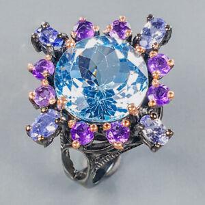 Unique fine Art Blue Topaz Ring Silver 925 Sterling  Size 7.75 /R173457