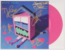 "NEON TREES BAND SIGNED SLEEPING WITH A FRIEND 7""  VINYL SINGLE RECORD W/COA"