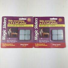 "Magic Sliders Sliding Discs 24mm Square Furniture Movers 2 Packs 15/16"""