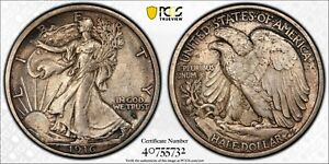 1916 D WALKING LIBERTY HALF PCGS MS64 LUSTROUS SILVERY GOLDEN PEWTER & CHARCOAL