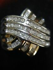 Final Price Drop - 9ct Yellow and white gold ring with 75 diamonds  Size 9