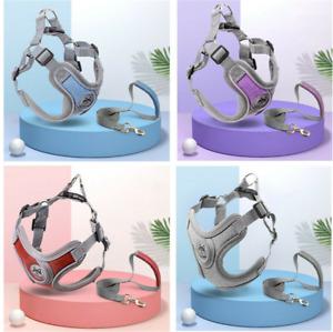 Adjustable Pet Dog Harness Leads Leash Set Reflective Puppy Breathable Vest UK