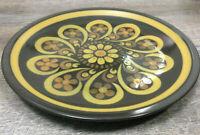 "Vintage 12"" Chop Plate Platter Majorca Lodi Mikasa Brown Yellow Band Scrolls"