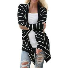 Women Casual Long Sleeve Striped Cardigans Patchwork Outwear