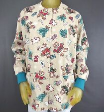 Hice Long Sleeve Snap Front Scrub Top Holiday Teddy Bear Gingerbread Small B6