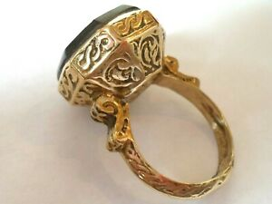 EXPERTLY POLISHED,POST/LATE MEDIEVAL BRONZE RING WITH EMPEROR INTAGLIO STONE.