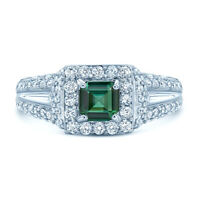 18k White Gold Asscher Green Tourmaline Diamond Engagement Ring Square Natural