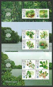 SRI LANKA 2020 WORLD WETLANDS DAY 3 X SOUVENIR SHEET OF TOTAL 10 STAMPS IN MINT