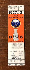 1986 Buffalo Sabres Playoffs Div Finals UNUSED TICKET Memorial Auditorium