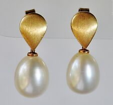 PEARL EARRINGS CULTURED TEARDROP PEARLS BRUSHED 9K 375 GOLD GIFT BOXED NEW